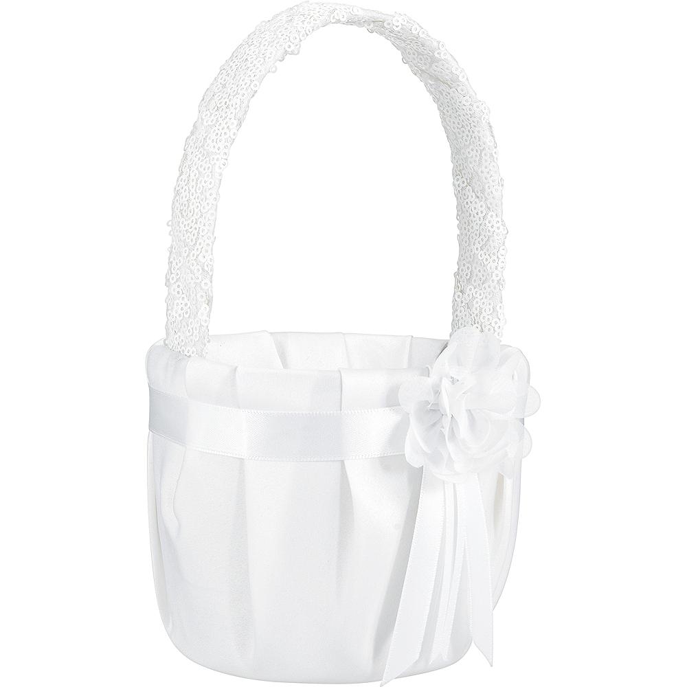 White Sequin Flower Girl Basket Image #1