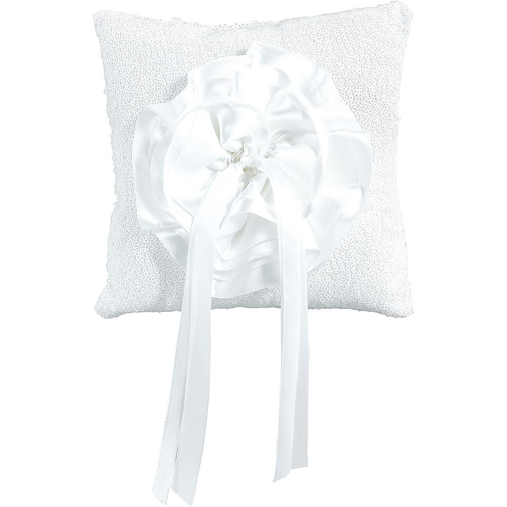 White Sequin Ring Bearer Pillow Image #1