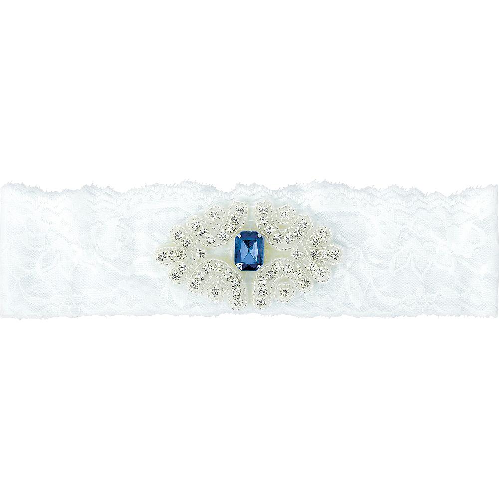 Blue Gemstone Wedding Garter Image #1