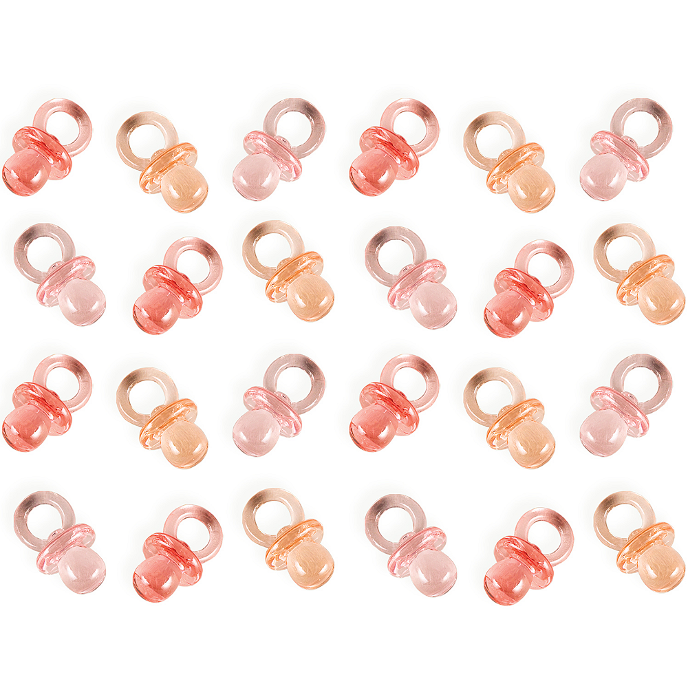 Mini Pink Pacifier Baby Shower Favor Charms 24ct Image #1