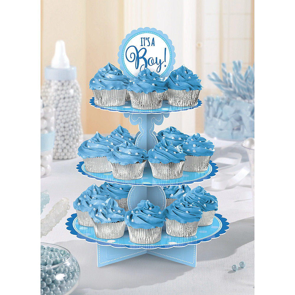 Blue It's A Boy Baby Shower Cupcake Stand Image #1