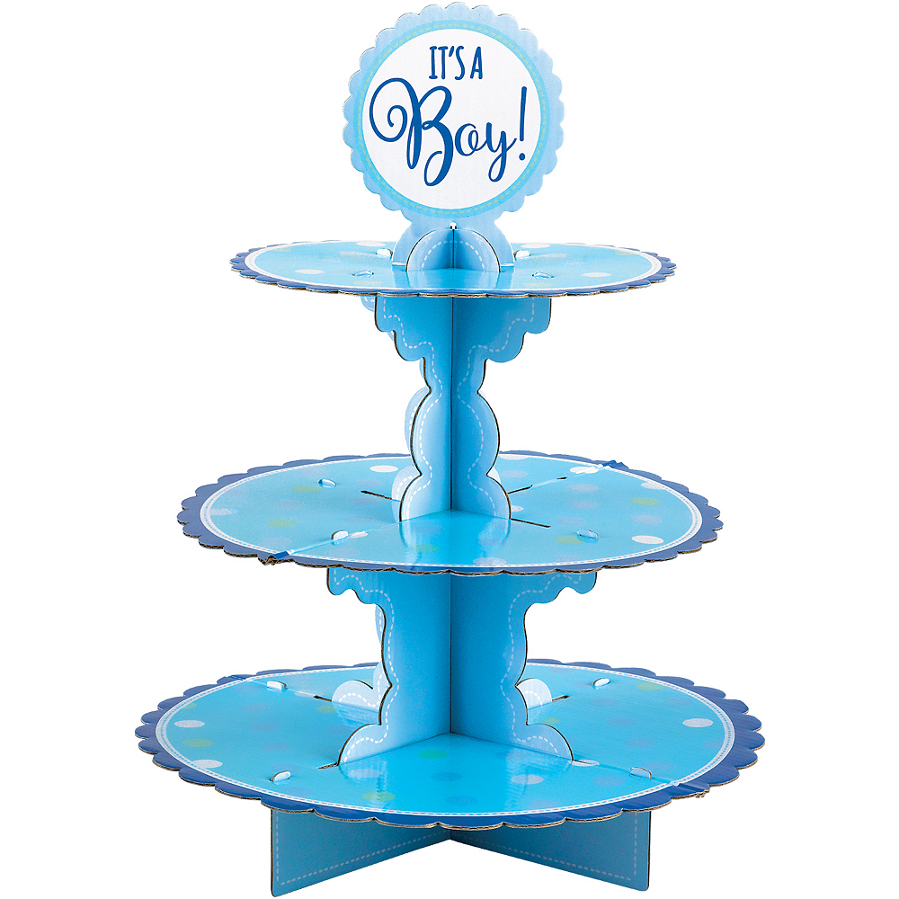 Blue It's A Boy Baby Shower Cupcake Stand Image #2