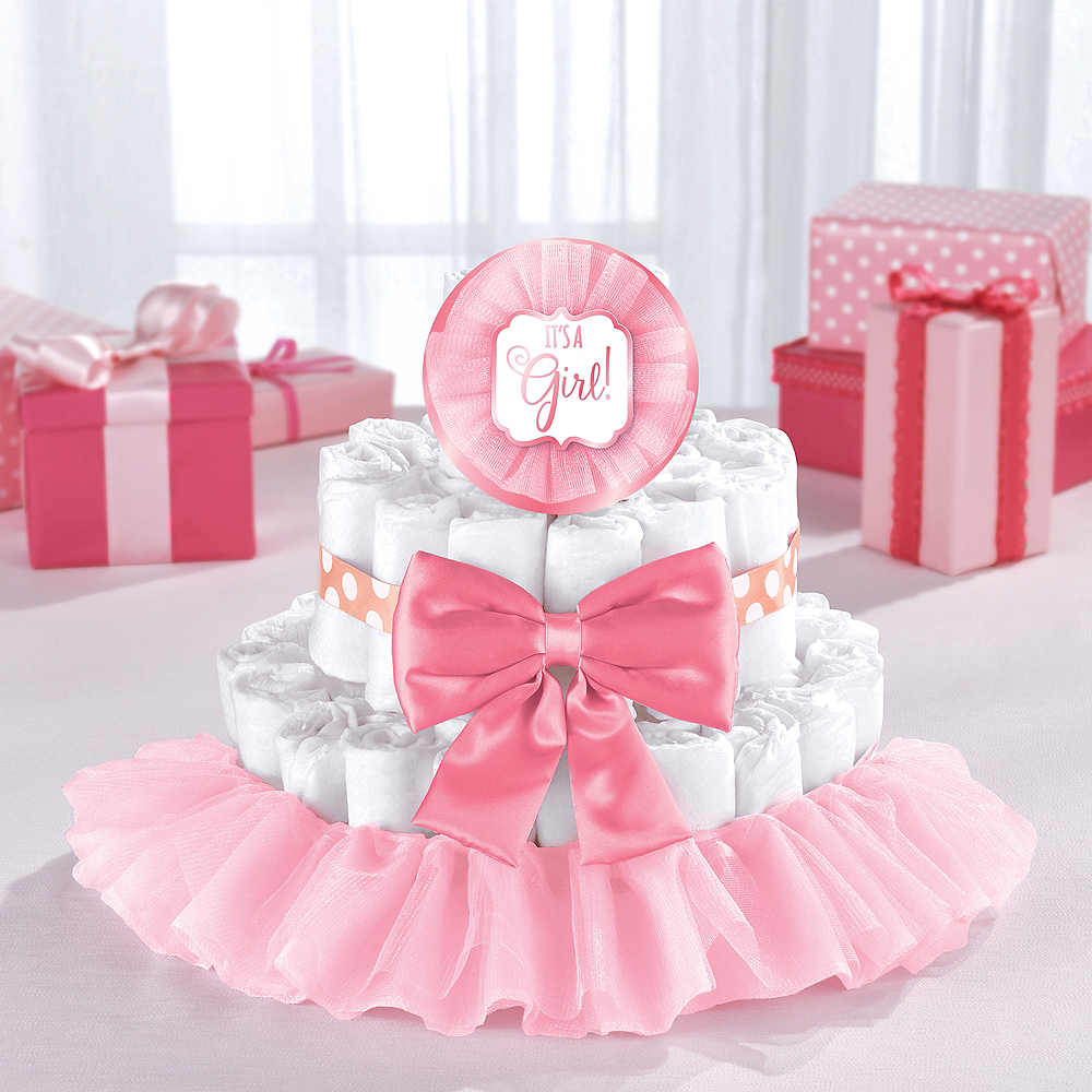 Pink Baby Shower Diaper Cake Decorating Kit Party City