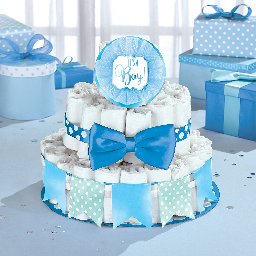 Nav Item for Blue Baby Shower Diaper Cake Decorating Kit Image #1