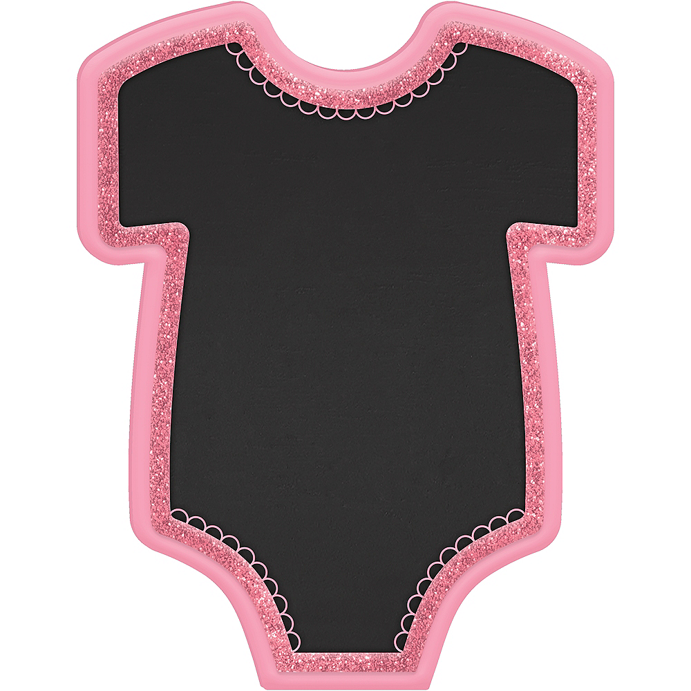 Nav Item for Pink Bodysuit Baby Shower Chalkboard Easel Sign Image #1