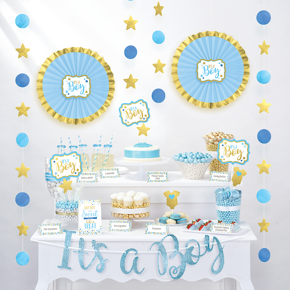 It S A Boy Baby Shower Treat Table Decorating Kit 23pc Party City