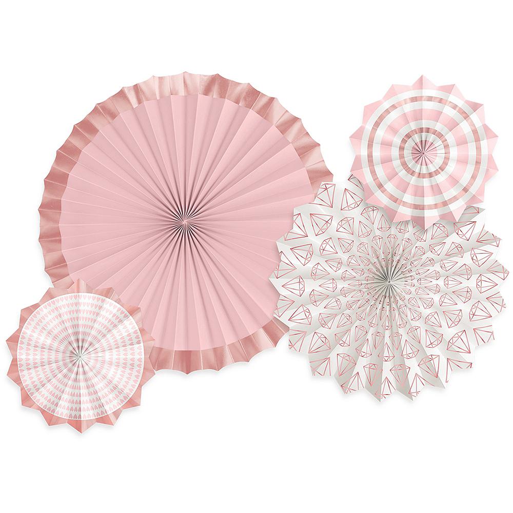 Blush & Rose Gold Paper Fan Decorations 4ct Image #1