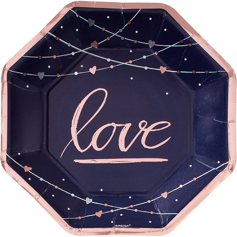 Metallic Navy Love Dinner Plates 8ct Image #1
