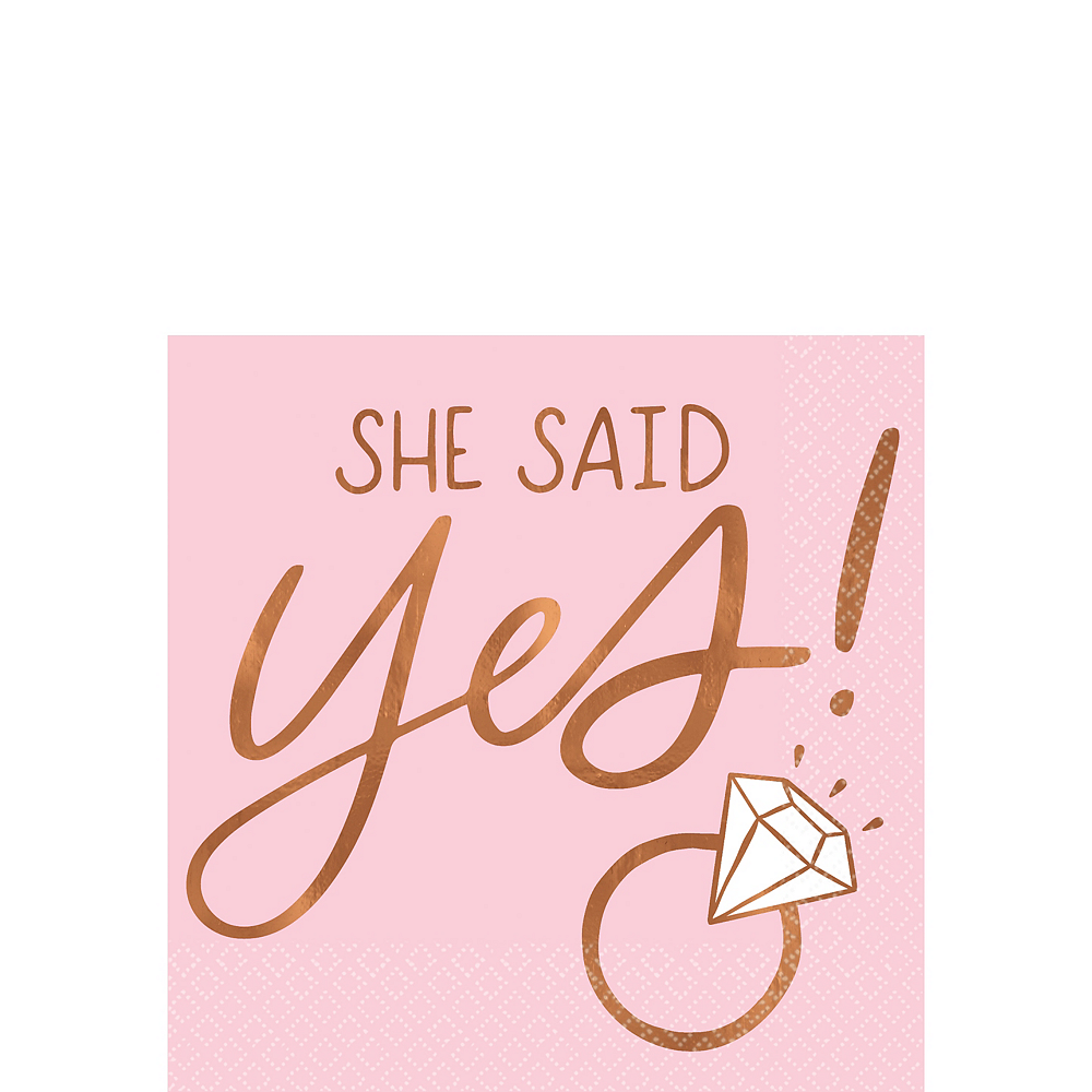 Nav Item for Blush & Rose Gold She Said Yes Beverage Napkins 16ct Image #1