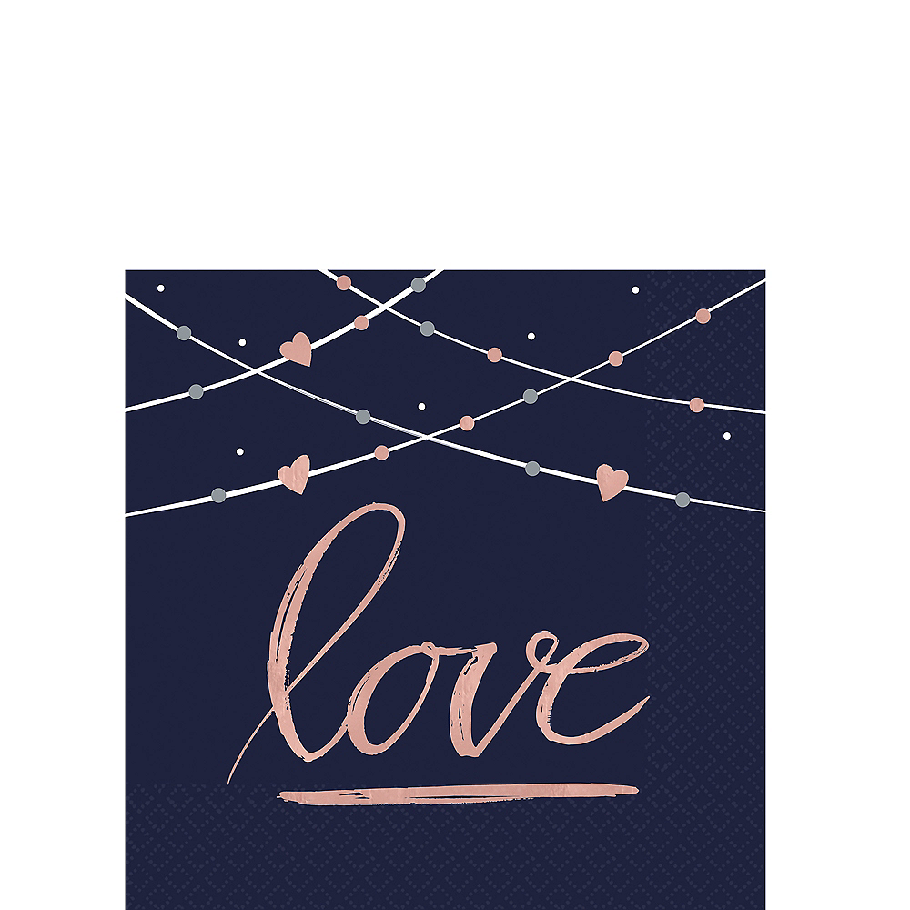 Navy Love Beverage Napkins 16ct Image #1