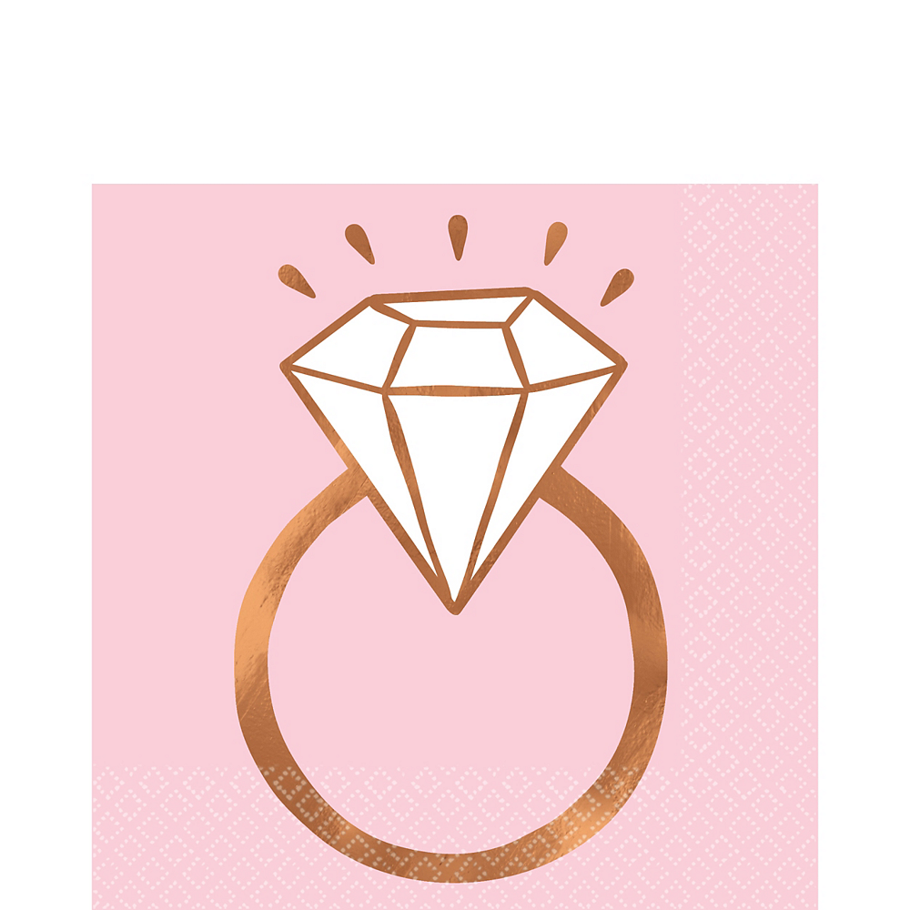 Blush & Rose Gold Diamond Ring Lunch Napkins 16ct Image #1