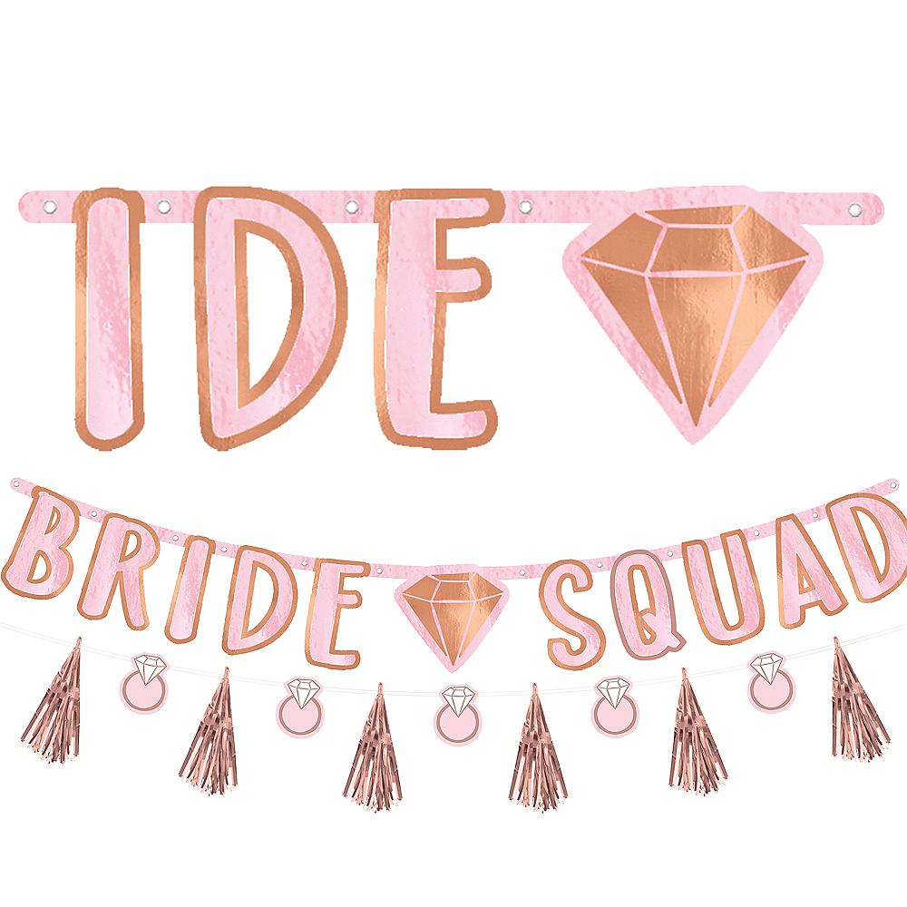 Blush & Rose Gold Bride Squad Letter Banner with Mini Banner Image #1