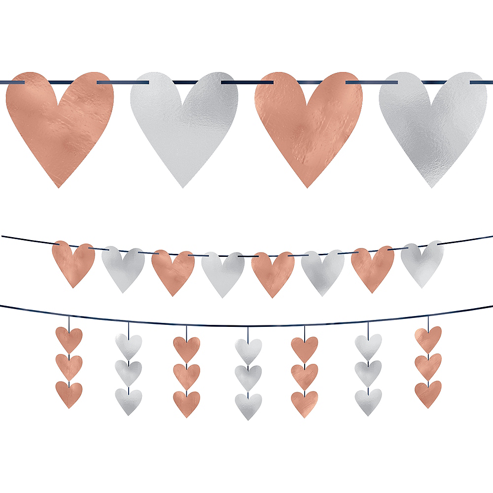 Rose Gold Heart Cutout Banners 2pc Image #1