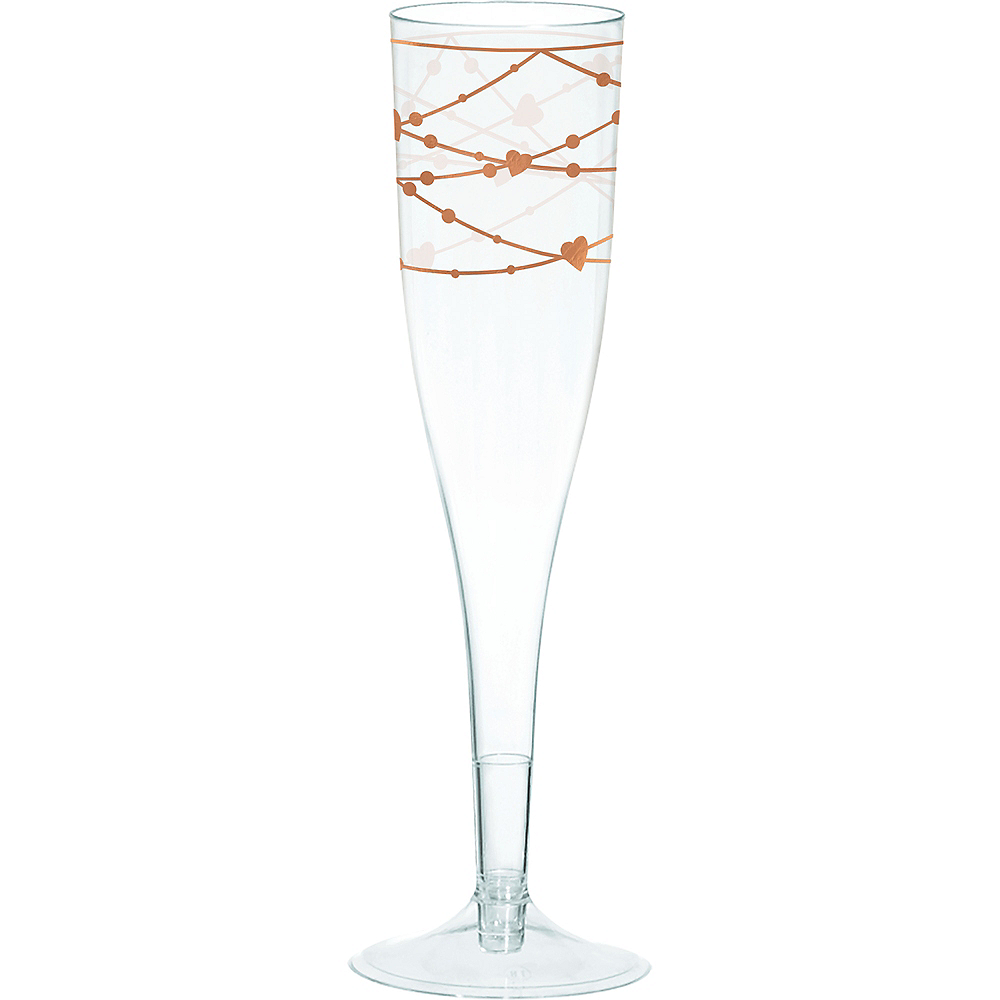 Rose Gold Heart Plastic Champagne Flutes 16ct Image #1