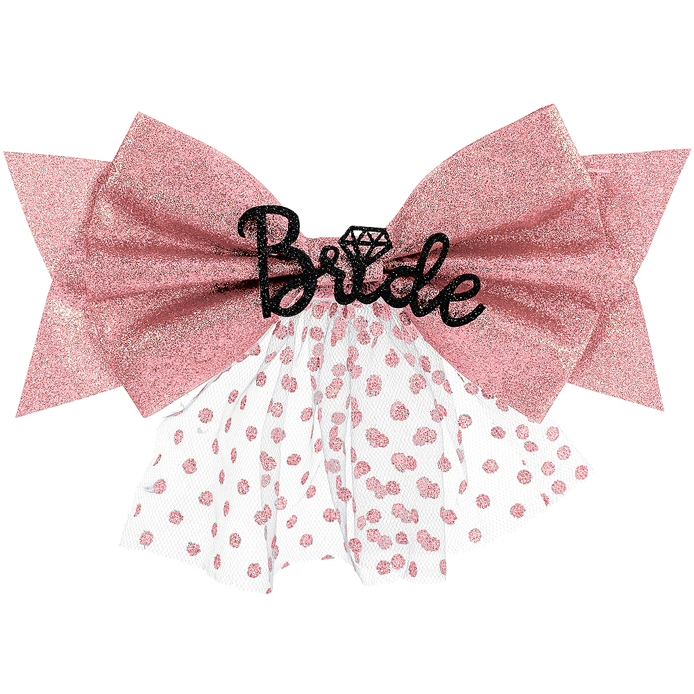 Glitter Pink Bride Clip-On Bow Image #1