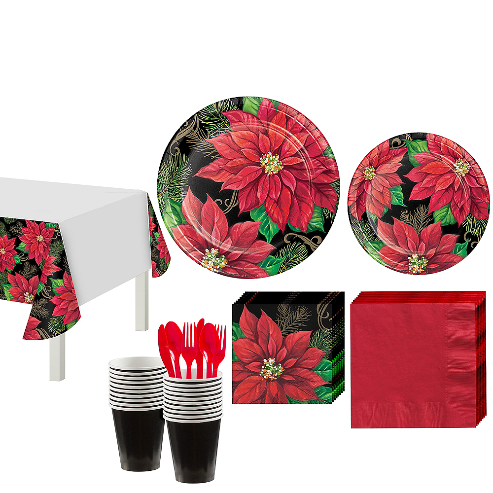 Posh Poinsettia Tableware Kit for 16 Guests Image #1
