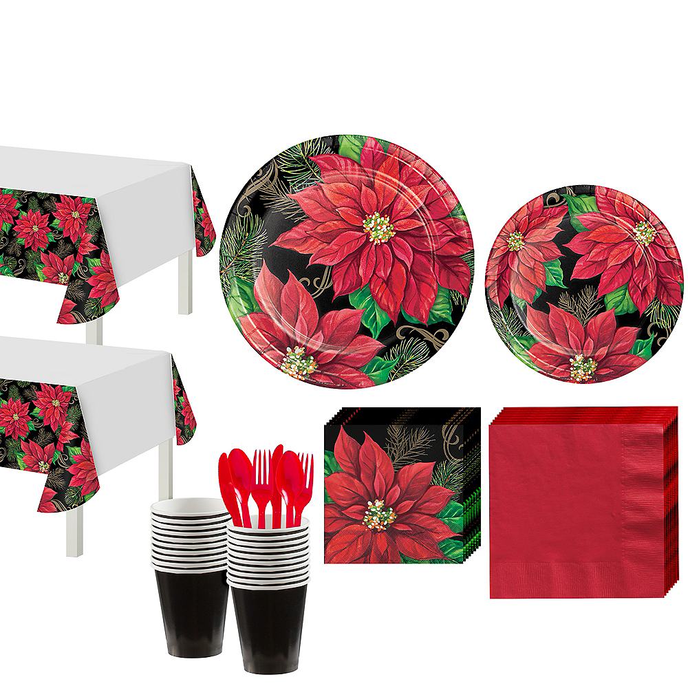 Posh Poinsettia Tableware Kit for 32 Guests Image #1