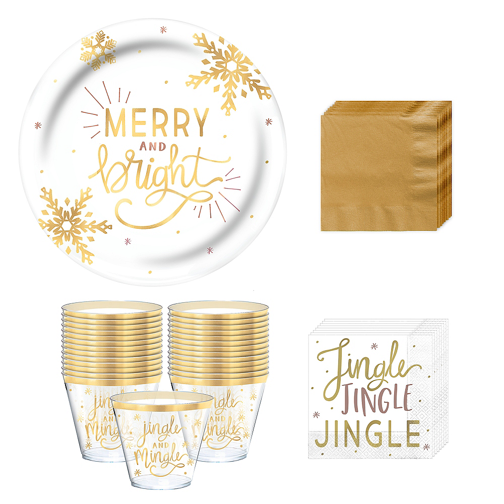 Metallic Gold Holiday Cocktail Party Kit for 16 Image #1