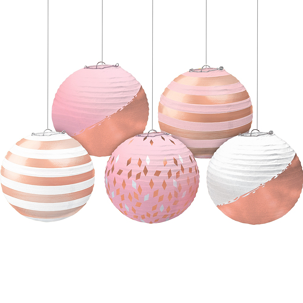 Mini Metallic Rose Gold & Pink Paper Lanterns 5ct Image #1