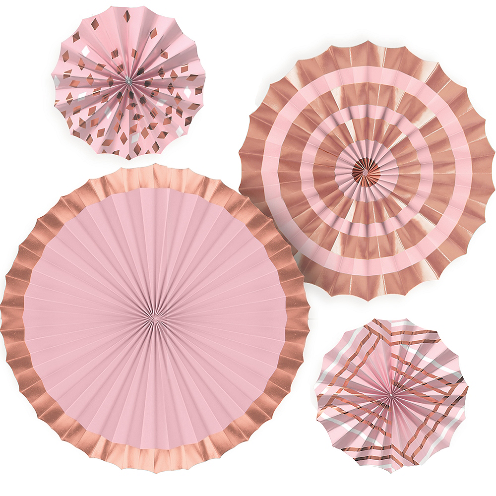 Metallic Rose Gold & Pink Paper Fan Decorations 4ct Image #1