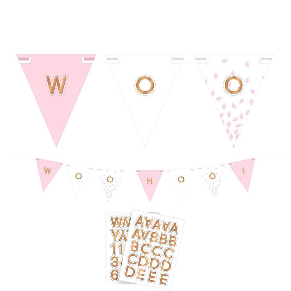 Metallic Rose Gold & Pink Pennant Banner Kit Image #1