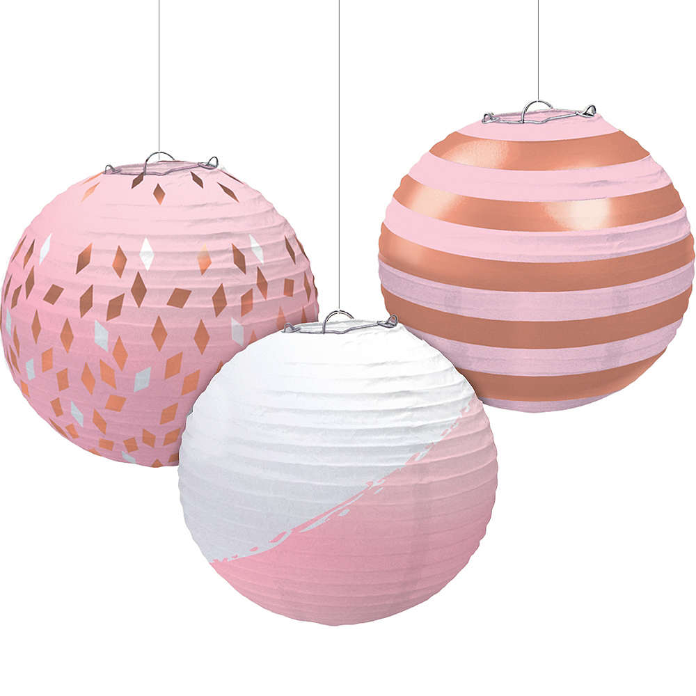 Metallic Rose Gold & Pink Paper Lanterns 3ct Image #1