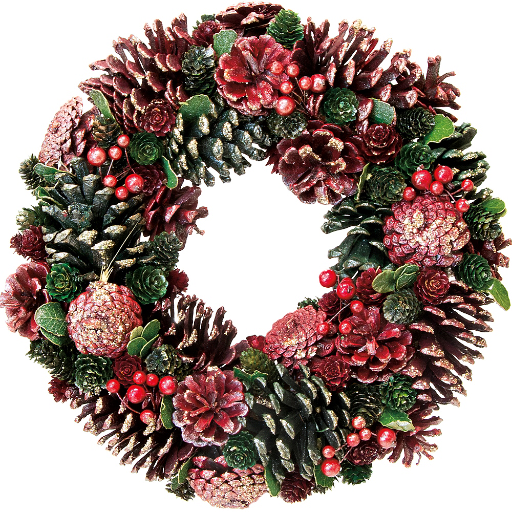 Glitter Red Pinecone Wreath Image #1