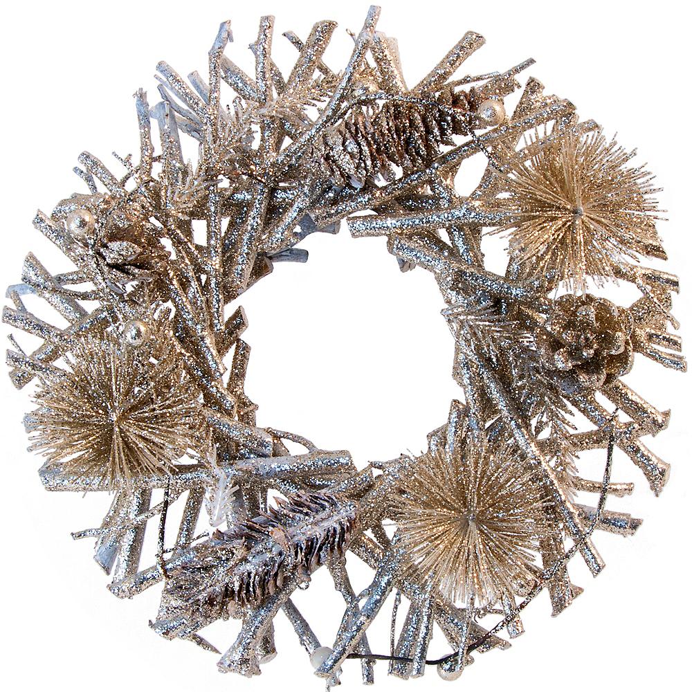 Glitter Gold Small Branch & Pinecone Wreath Image #1