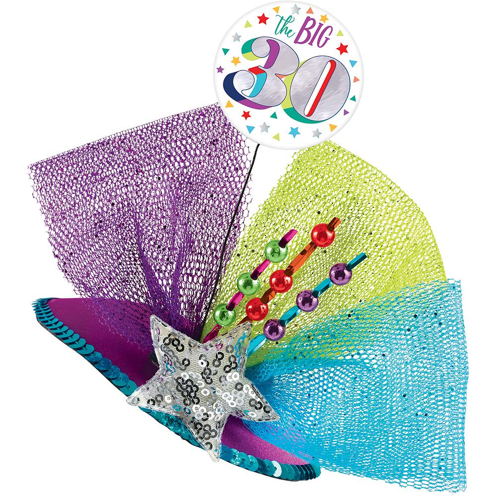 Clip-On Multicolor 30th Birthday Fascinator Hat Image #1