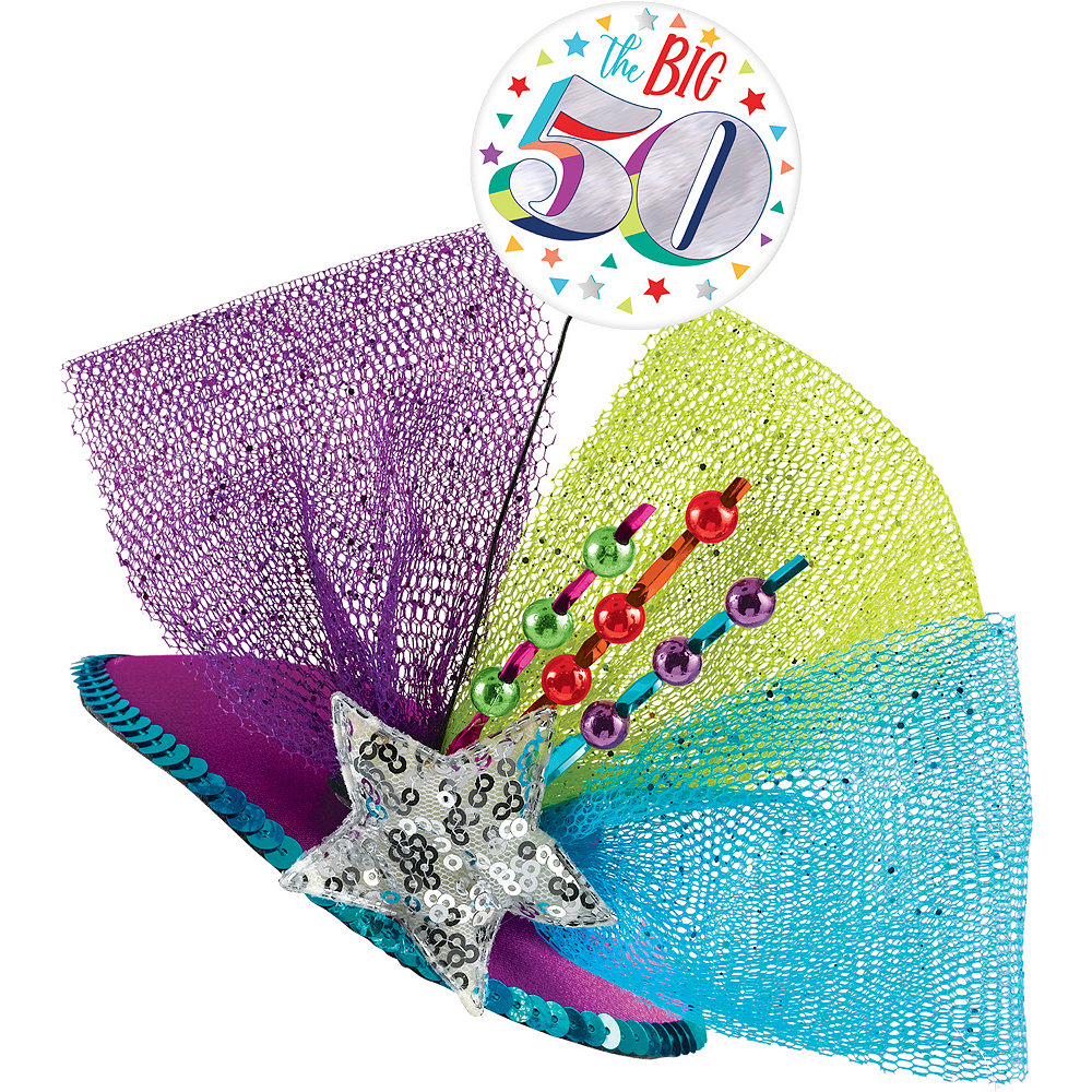 Clip-On Multicolor 50th Birthday Fascinator Hat Image #1
