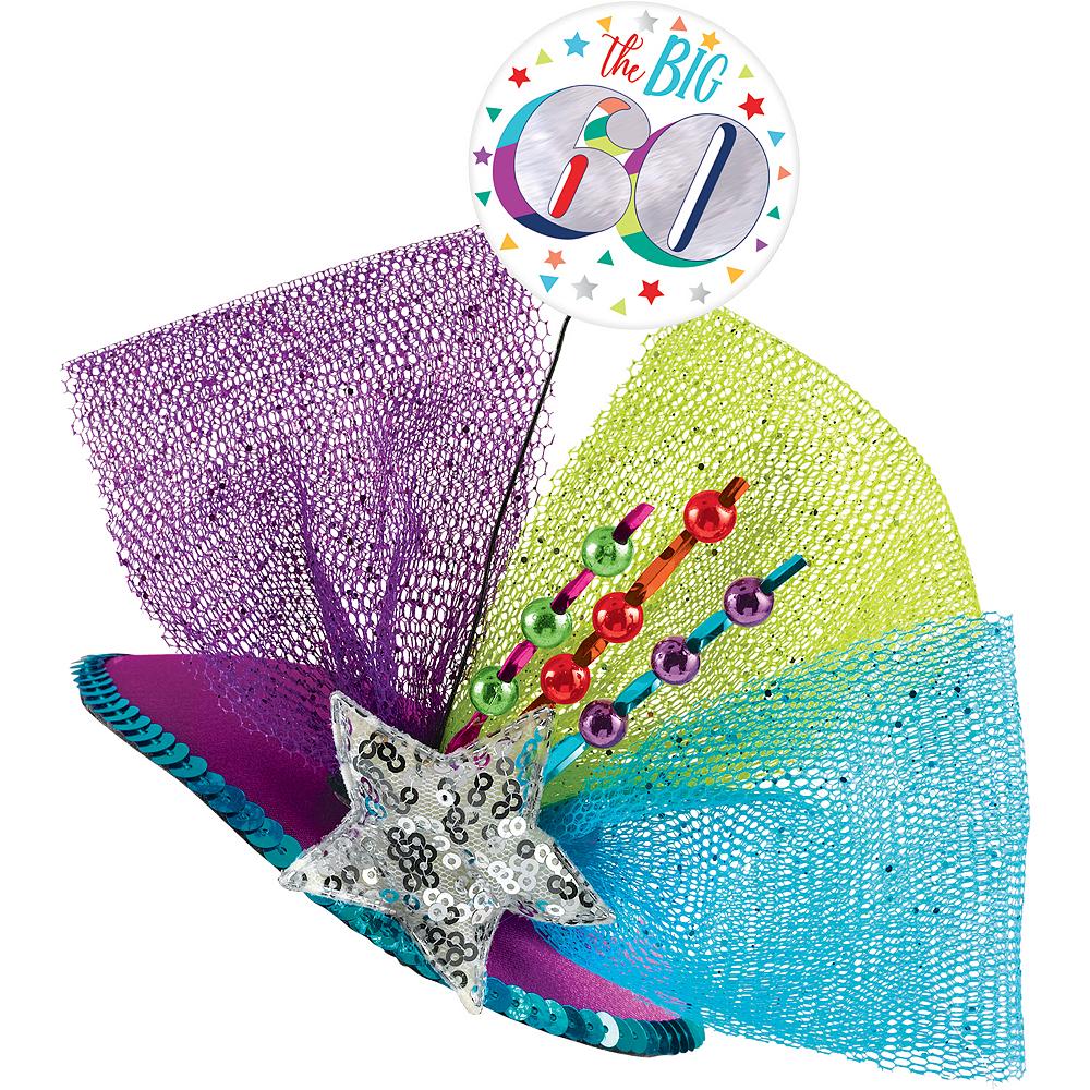 Clip-On Multicolor 60th Birthday Fascinator Hat Image #1