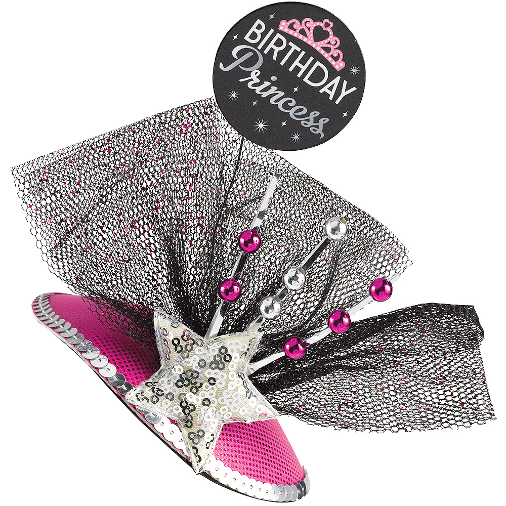 Clip-On Black & Pink Birthday Princess Fascinator Hat Image #1