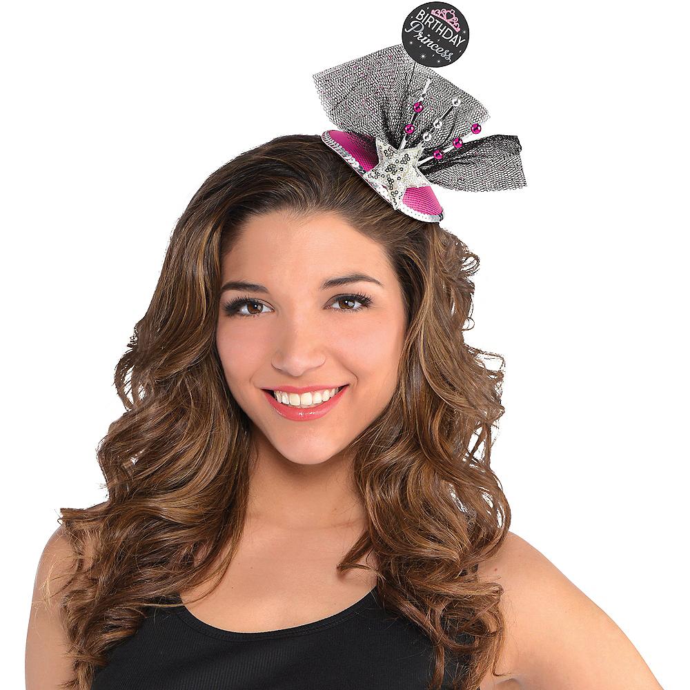Clip-On Black & Pink Birthday Princess Fascinator Hat Image #2