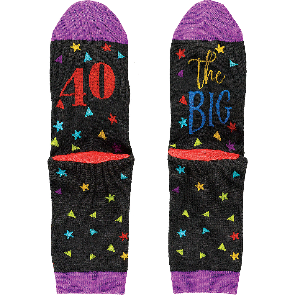 Multicolor 40th Birthday Crew Socks Image #1