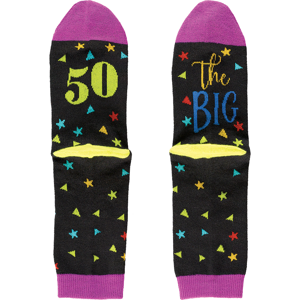 Multicolor 50th Birthday Crew Socks Image #1
