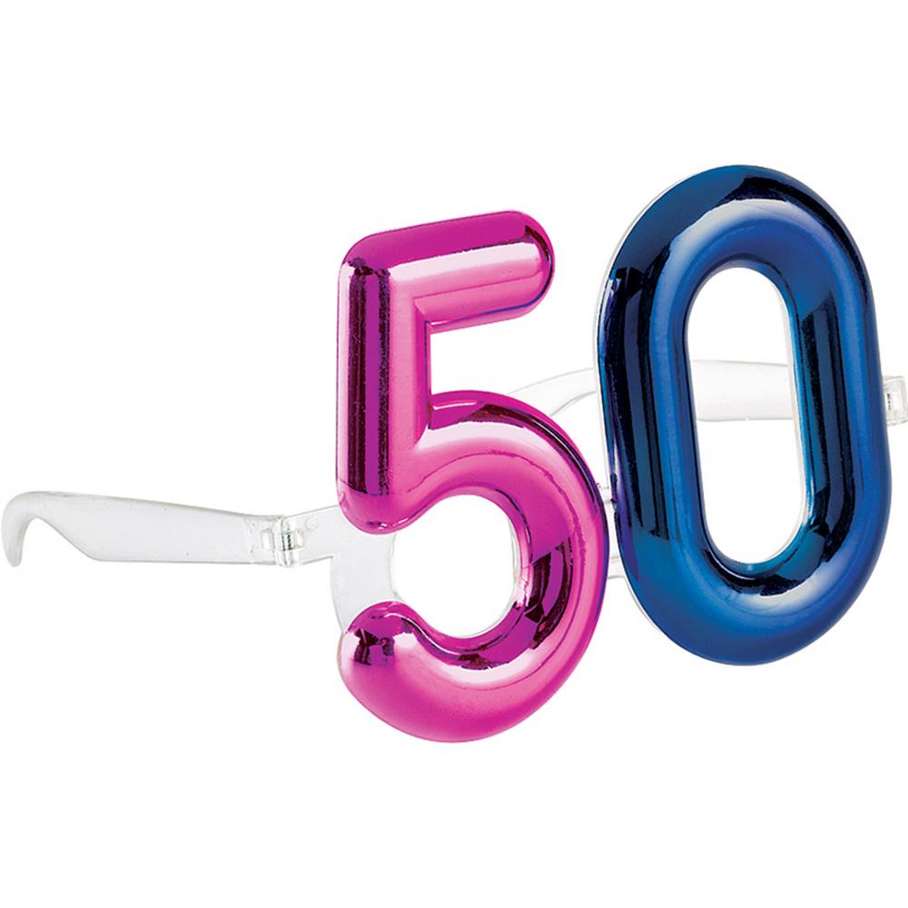 Metallic 50th Birthday Glasses Image #1