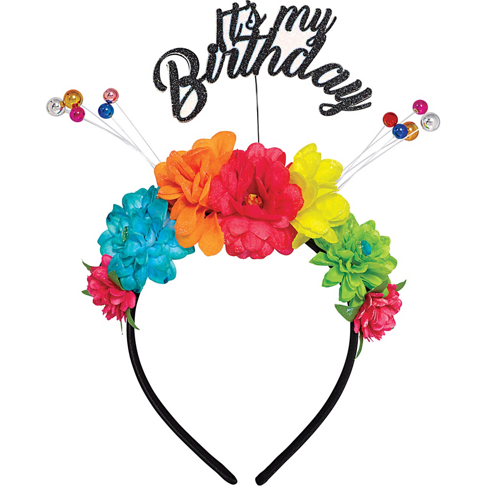 Multicolor Floral Birthday Headband Image #1