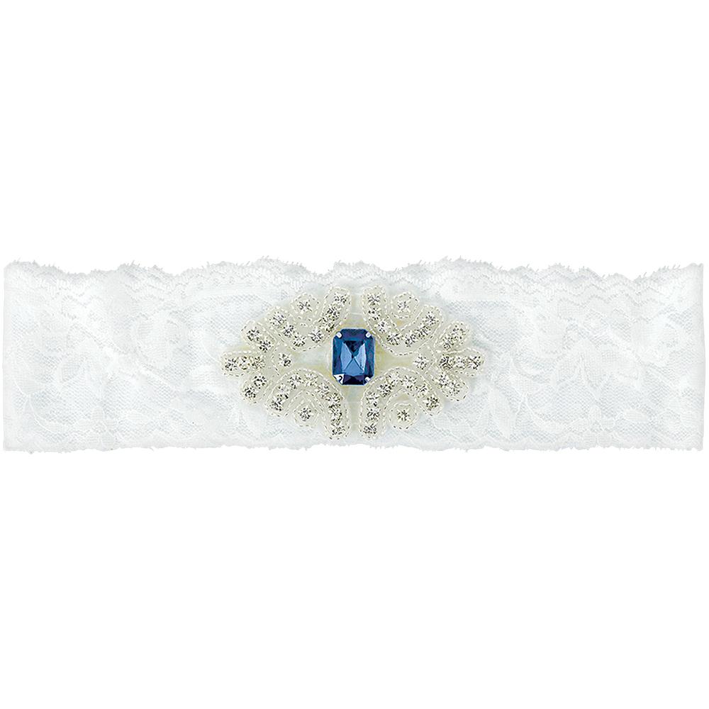 Blue Gem Stone Wedding Garter Plus Size Image #1