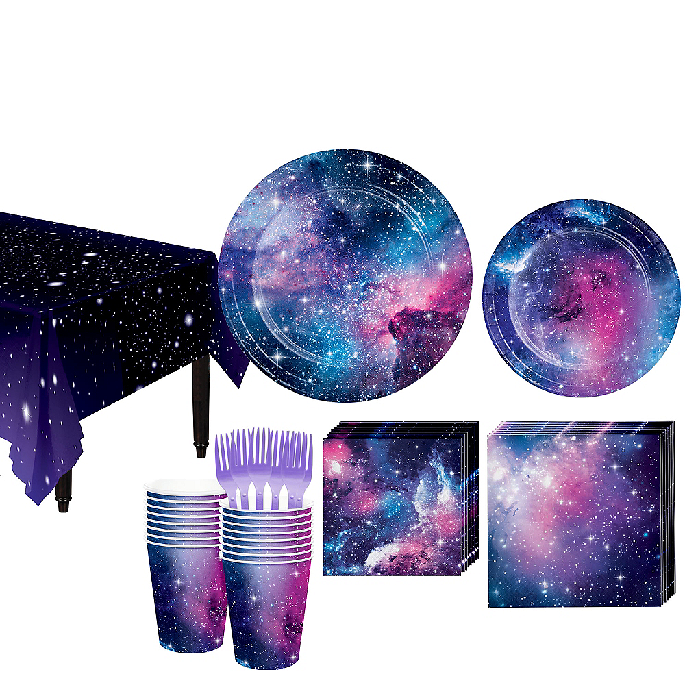 Galaxy Tableware Kit For 16 Guests Space Theme Party