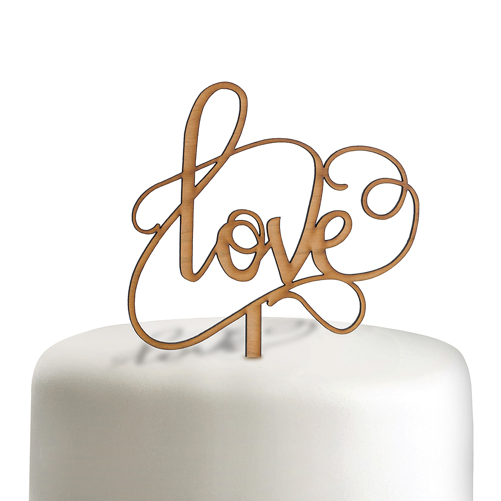 Love Wood Wedding Cake Topper Image #1
