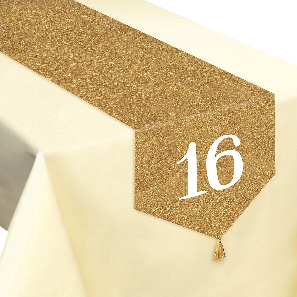 Glitter Gold Sweet 16 Table Runner Image #1