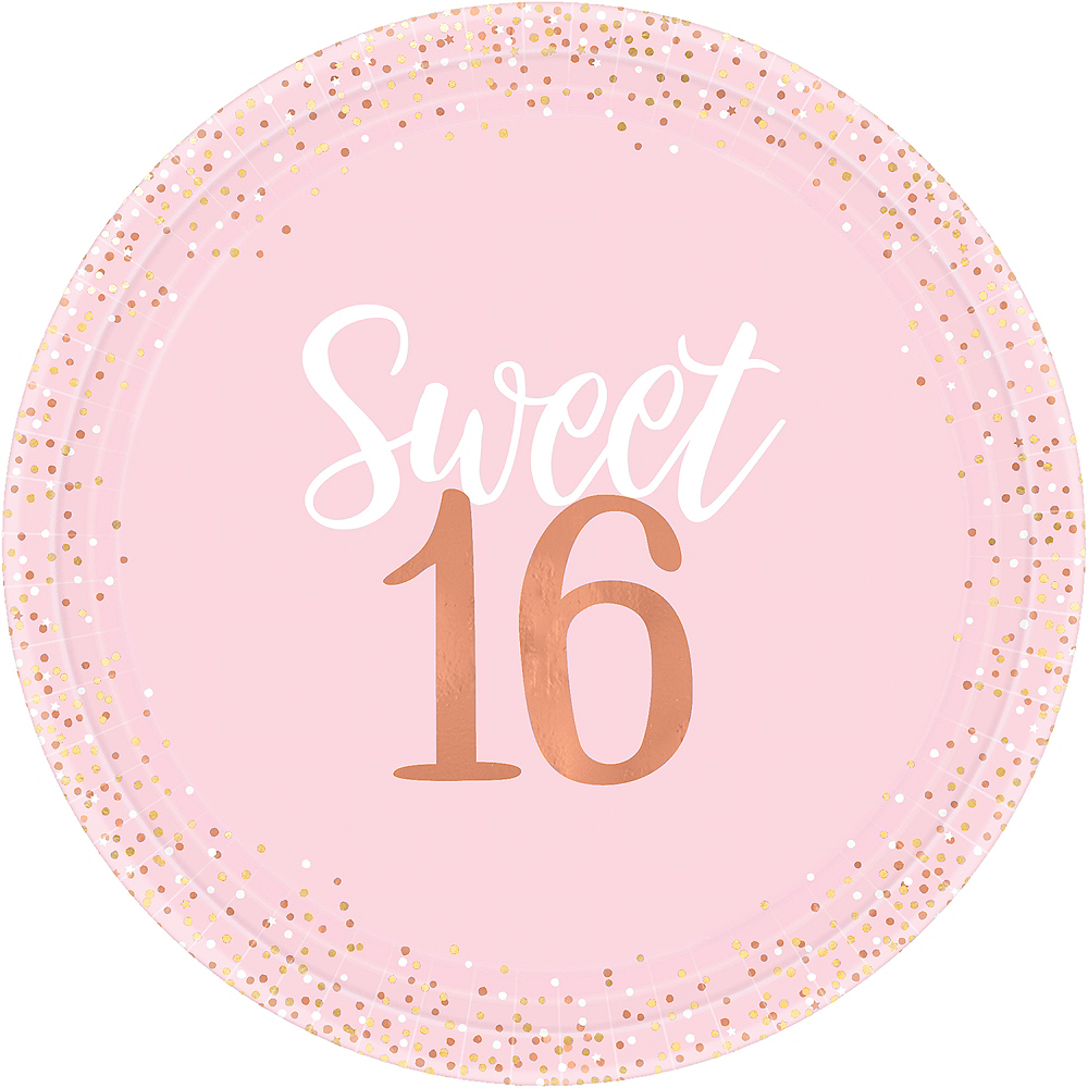 Metallic Rose Gold & Pink Sweet 16 Dinner Plates 8ct Image #1