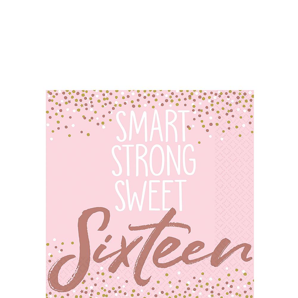 Rose Gold & Pink Sweet 16 Beverage Napkins 16ct Image #1