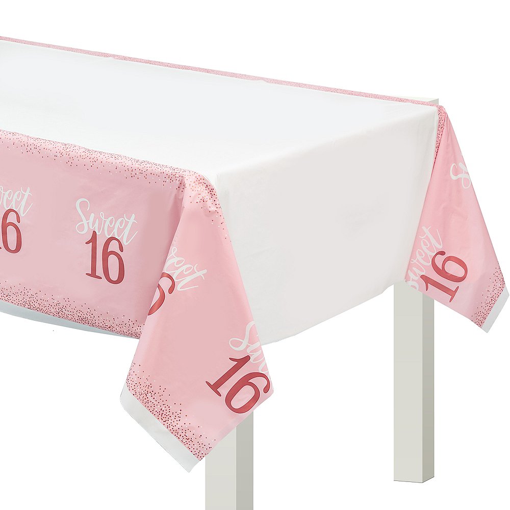 Rose Gold & Pink Sweet 16 Table Cover Image #1