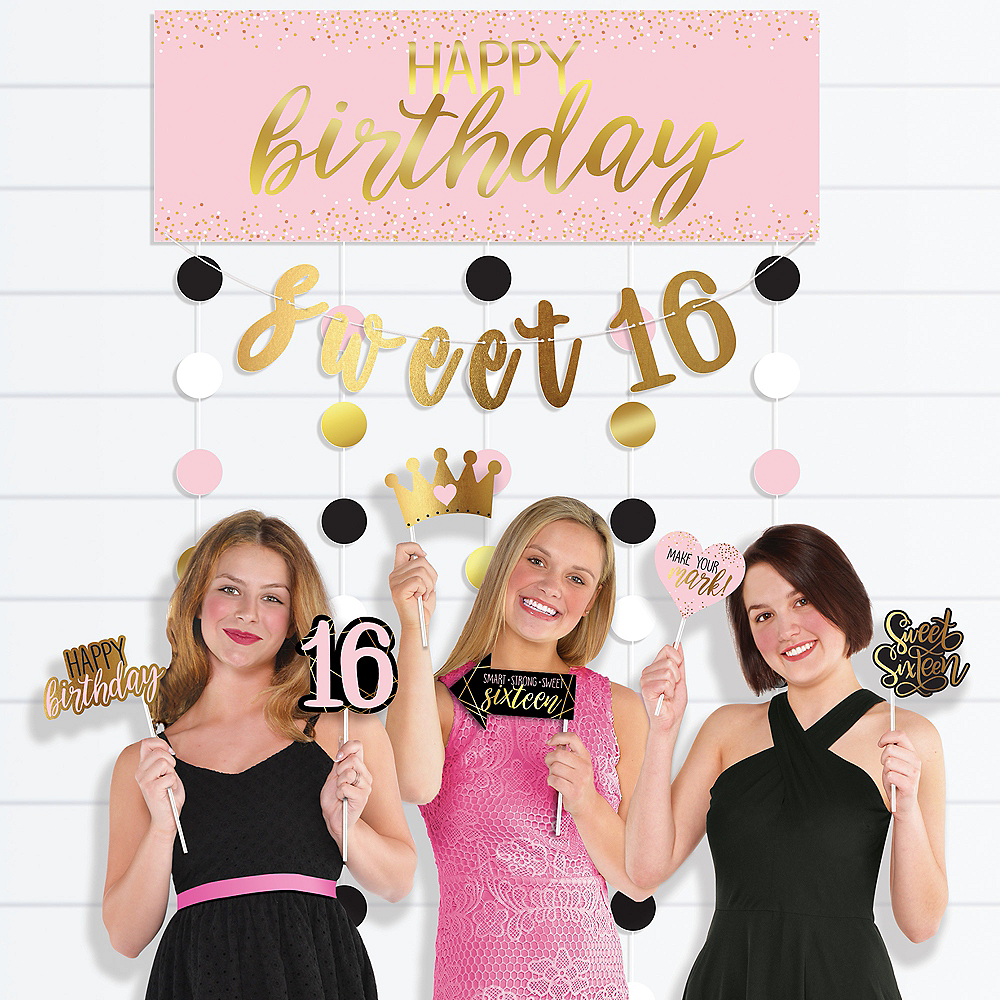 Glitter Gold & Pink Sweet 16 Photo Booth Kit 14pc Image #1