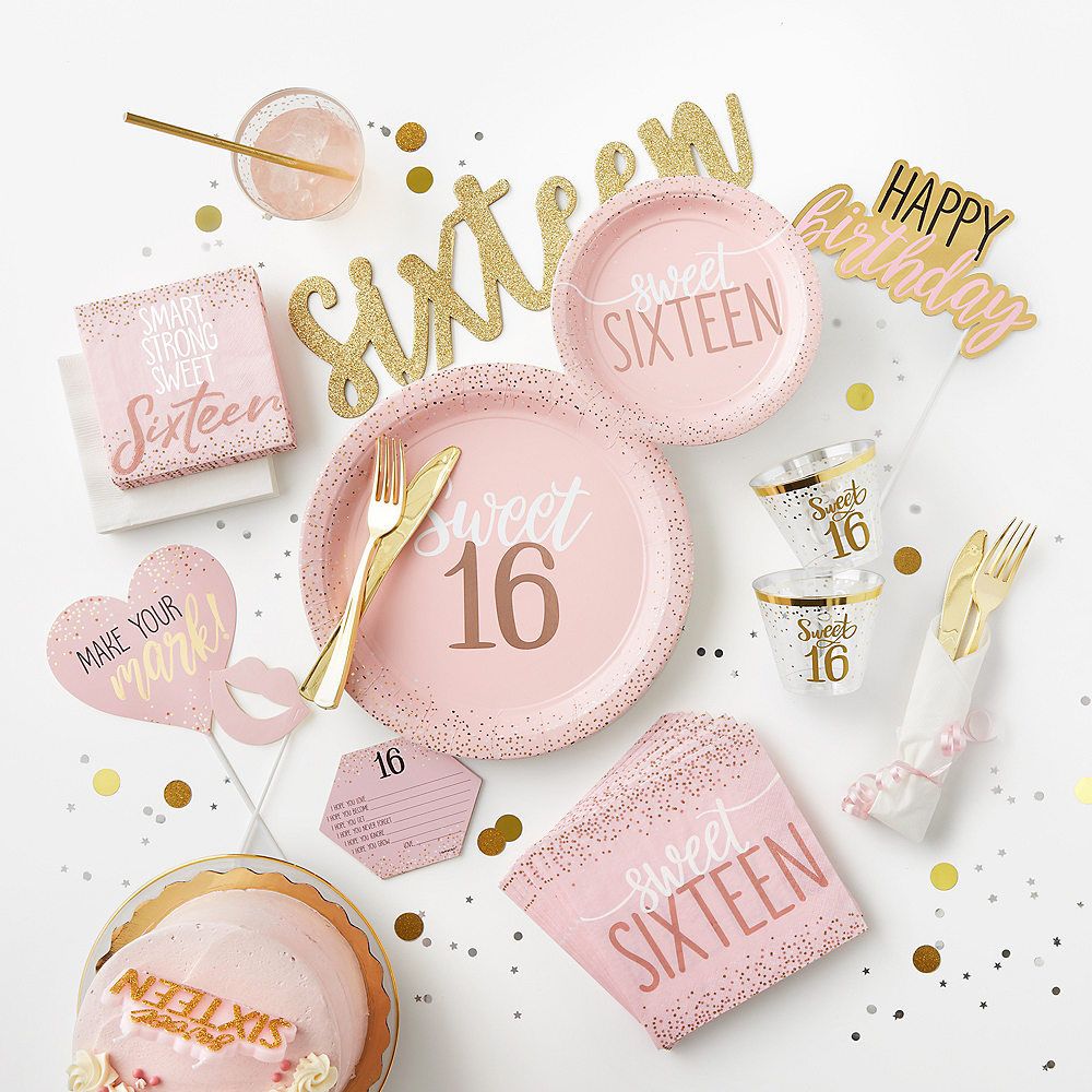 Glitter Gold & Pink Sweet 16 Photo Booth Kit 14pc Image #2