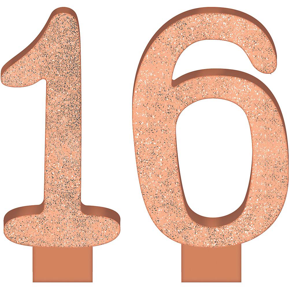 Glitter Rose Gold Number 16 Birthday Candles 2ct Image #1