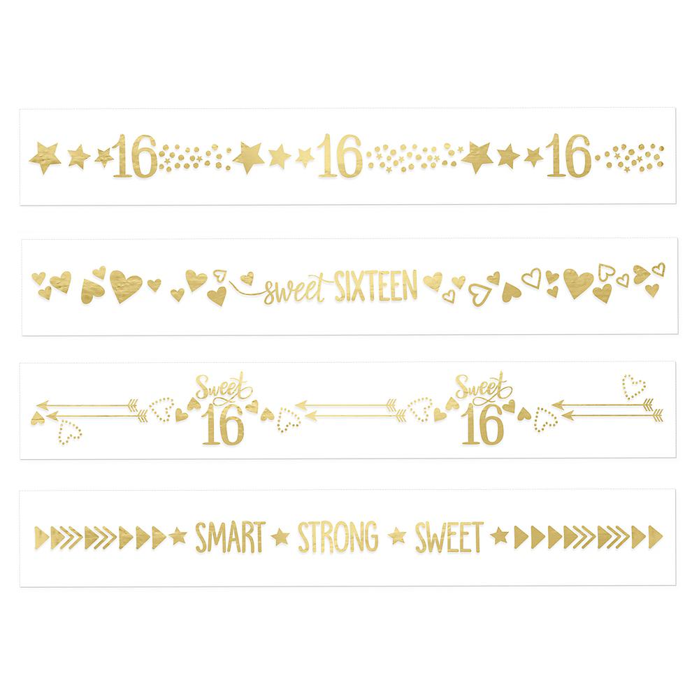 Metallic Gold Sweet 16 Tattoos 2 Sheets Image #1