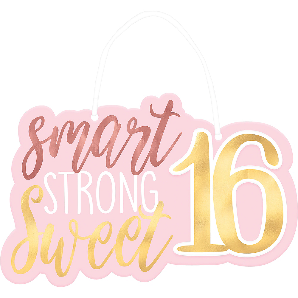 Metallic Gold & Pink Sweet 16 Sign 11 1 /2in x 7 1/4in ...