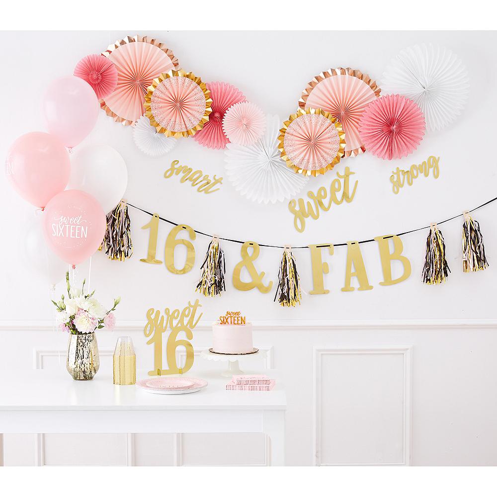 Metallic Gold & Pink Sweet 16 Room Decorating Kit 12pc Image #2